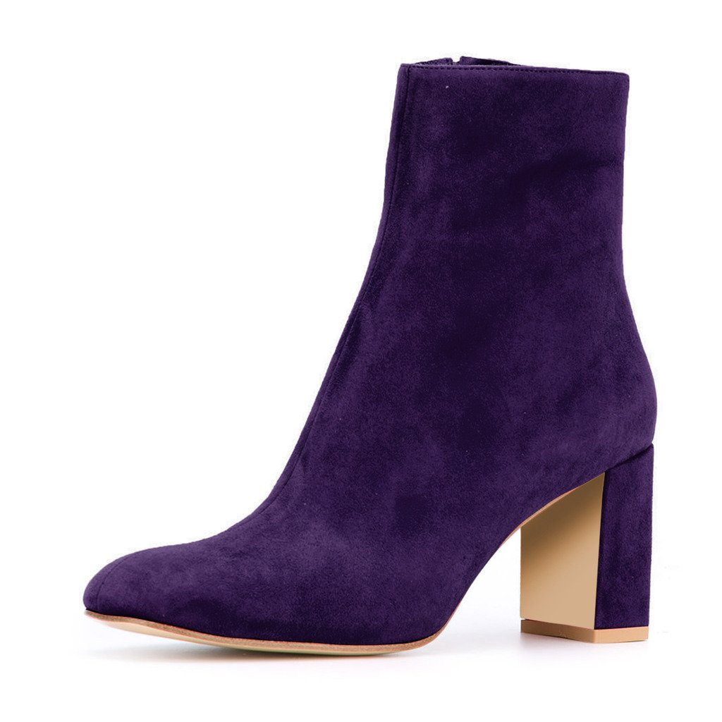 XYD Soft Suede Ankle Boots Comfortable Round Toe Block Heel Booties with Zipper for Women