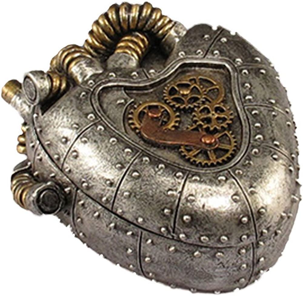 """Steampunk Anatomical Realistic Heart Shaped Box Trinkets and Treasures Silver Pewter Gold Box 5"""" X 4"""" X 2"""" SW-03"""