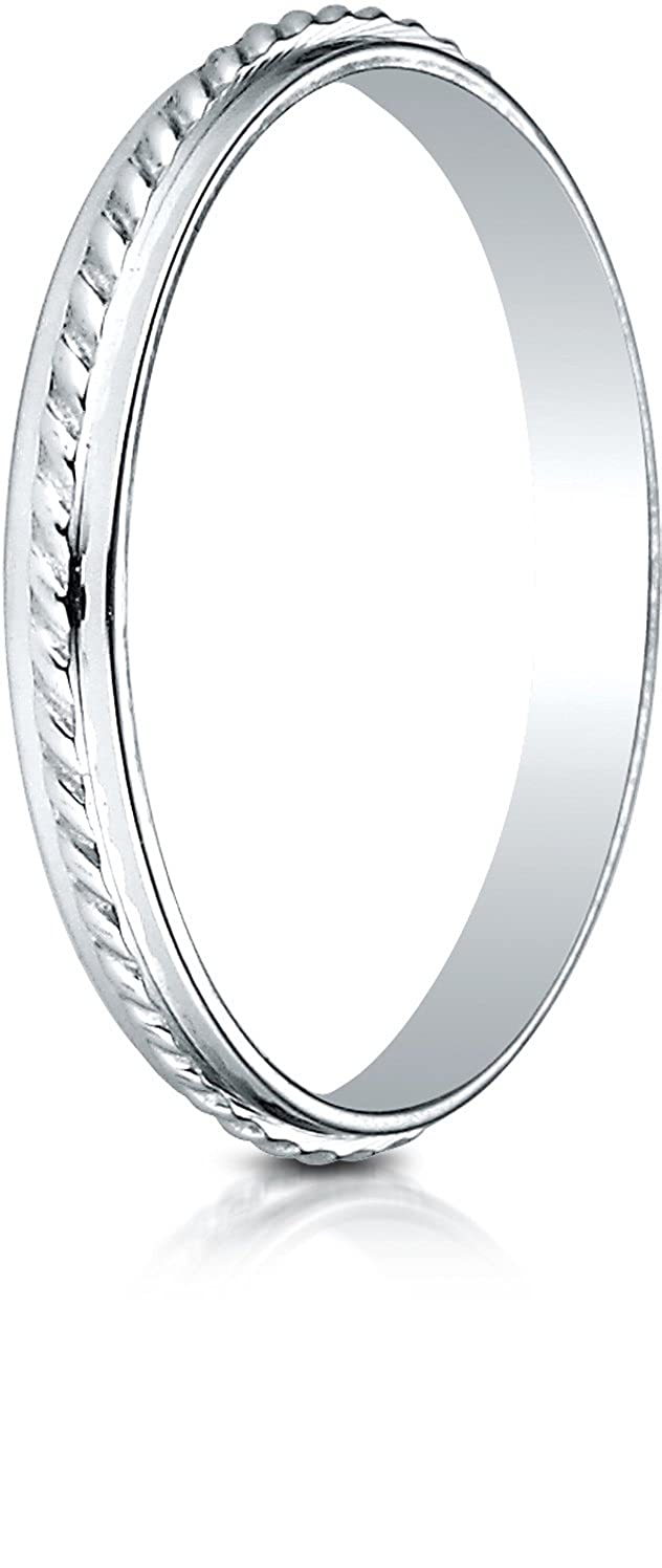Benchmark 14K White Gold 2mm High Polished Rope Center Design Wedding Band Ring Sizes 4-15