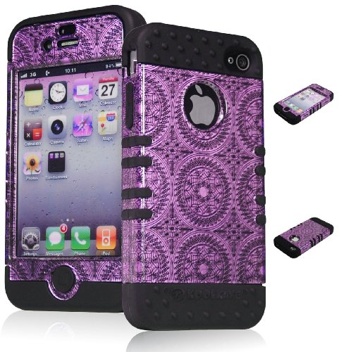 Bastex Heavy Duty Hybrid Case for iPhone 4, 4s, 4th Generation - Black Silicone / Purple Swirls & Circles Antique Design Hard Shell