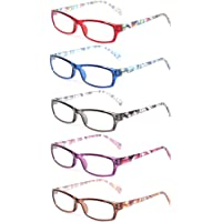 dcb409a98d Kerecsen 5 Pairs Fashion Ladies Reading Glasses Spring Hinge Pattern Design  Readers