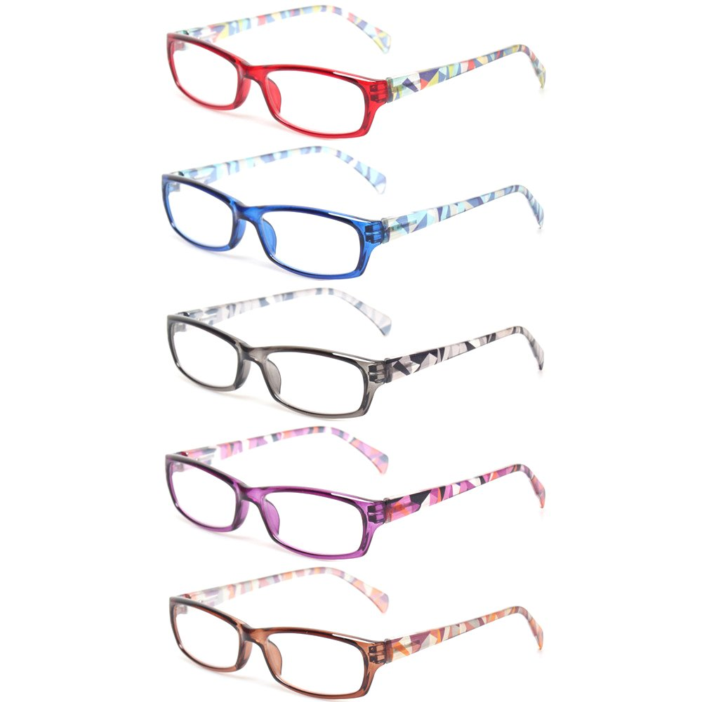 Reading Glasses 5 Pairs Fashion Ladies Readers Spring Hinge with Pattern Print Eyeglasses for Women (5 Pack Mix Color, 1.5)