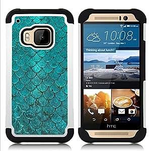For HTC ONE M9 - teal iridescent scale pattern fish tropical Dual Layer caso de Shell HUELGA Impacto pata de cabra con im??genes gr??ficas Steam - Funny Shop -