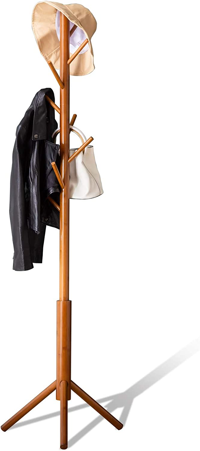 Bamboo Coat Rack Freestanding Stand Tree Adjustable Coat with 3 Sections 8 Hooks Easy to Assemble Standing Coat Jackets Hanger for Bedroom Office Hallway Entryway Brown