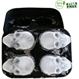 WllRun 3D Skull Silicone Ice Cube Mold Tray, Vivid Skull Mould, Four Giant Cavities, Cube Maker in Shapes for Juice, Jelly, Chocolate, Whiskey Ice, Cocktails, Cola, BLACK