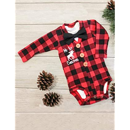 04f43d7b3199 Rompers Newborn Baby Boys Girls Christmas Plaid Cardigan Romper Christmas  Outfit with Moose Embroidery 2Pcs Outfit ...