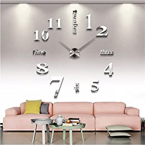 Mirror Surface Decorative Clock 3D DIY Wall Clock Living Room Bedroom Office Hotel Wall Decoration (Silver)