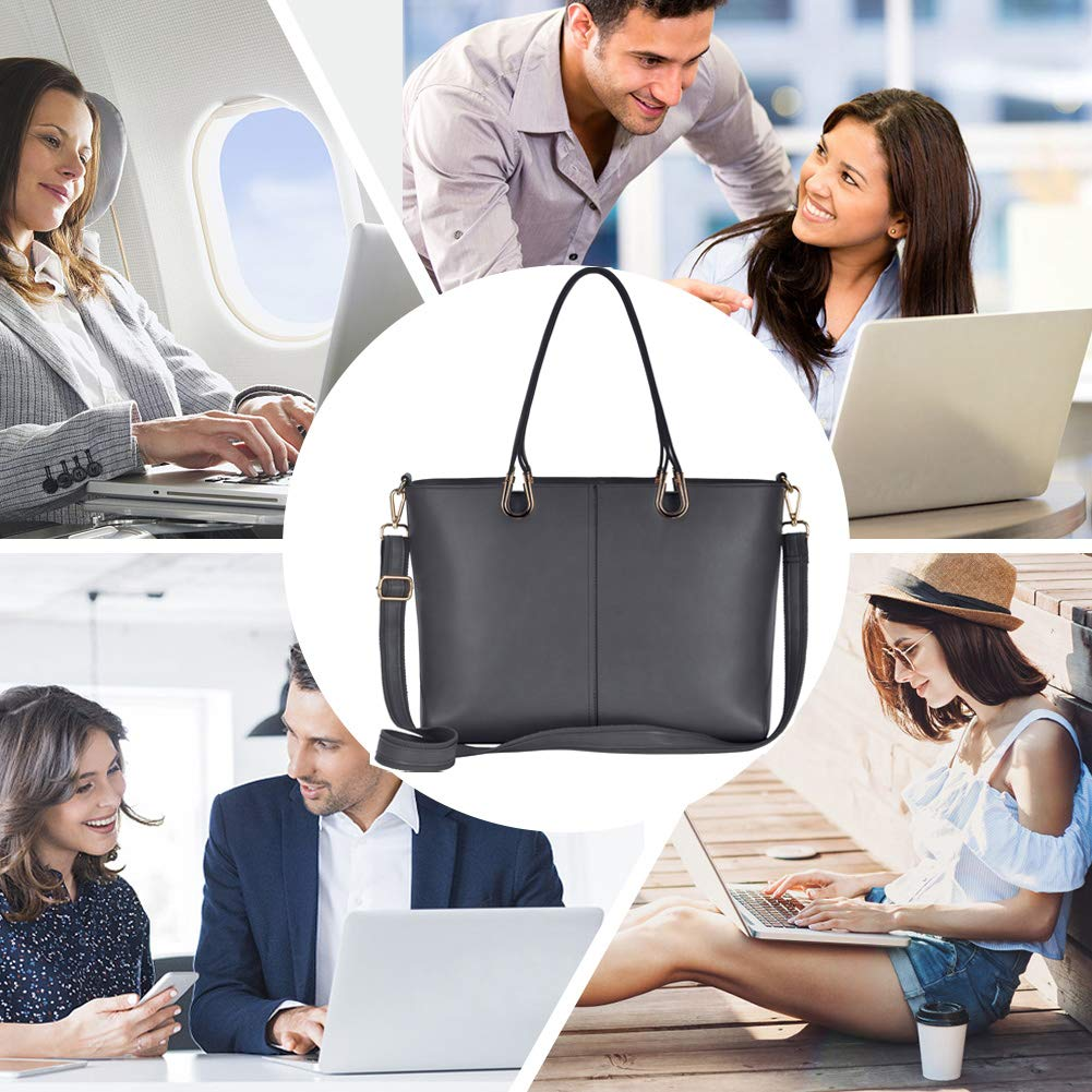 Laptop Bag,Casual Business Laptop Bags for Women 15.6 Inch,Large Tote Bag Briefcase with Wide Crossbody Strap[L0017/coffee] EDODAY