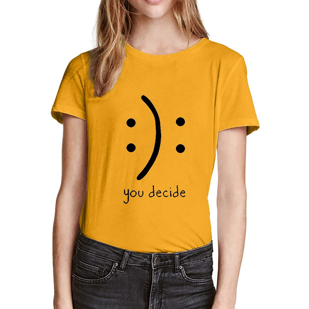 BCDshop Women Tees Shirt Short Sleeve Casual You Decide Blouse Tops Summer T Shirts (Yellow, XXXL) by BCDshop Summer Shirts