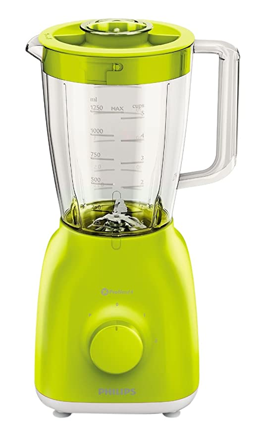 Philips HR2105/40 - Batidora de vaso (material vidrio y polipropileno, potencia 400 W), Amarillo Lima