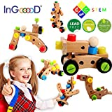 Ingooood Changeable Nut Building Blocks Car - 30 PCS Wooden Nuts and Bolts Building Toy Multifunction Construction Stacking Set Wooden Puzzle Blocks Assembly & Disentanglement for 3 Years Old Kids