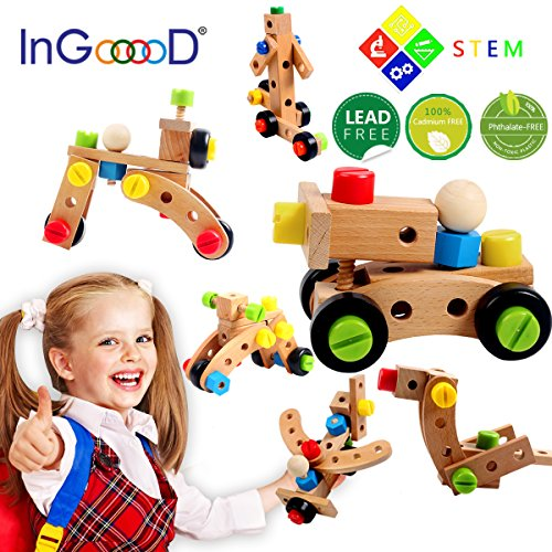 Ingooood Changeable Nut Building Blocks Car - 30 PCS Wooden Nuts and Bolts Building Toy Multifunction Construction Stacking Set Wooden Puzzle Blocks Assembly & Disentanglement for 3 Years Old Kids by Ingooood
