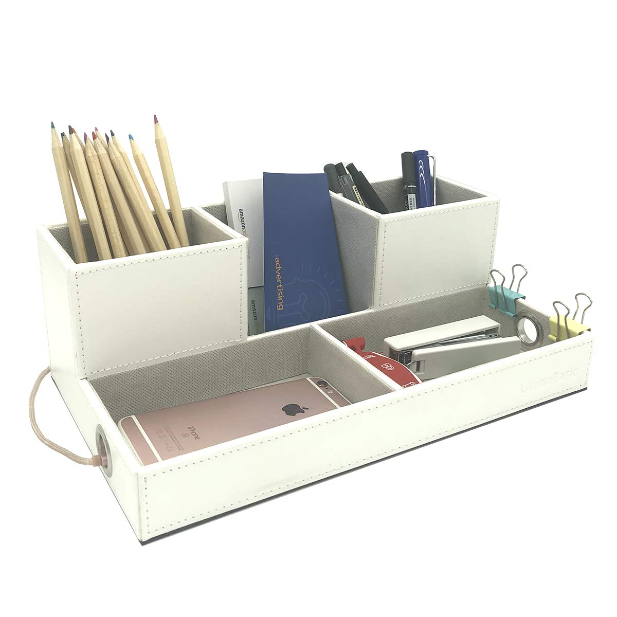 UnionBasic PU Leather 4 Compartment Desk Organizer Card/Pen/Pencil/Mobile Phone Office Supplies Holder Collection Desktop Organizer (Large White)