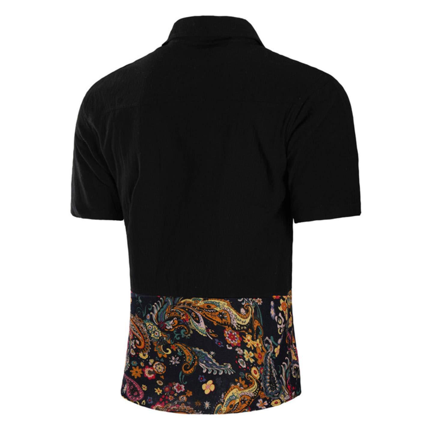 NCWK Mens Short Sleeve Hawaiian Shirt Paisley Print Casual Dress Shirts Slim Fit