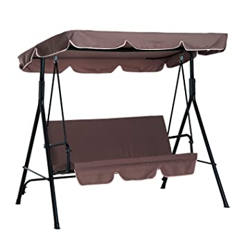Outsunny Garden Patio Swing Chair 3 Seater Swinging Hammock Canopy
