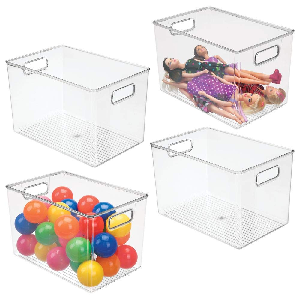 mDesign Deep Plastic Home Storage Organizer Bin for Cube Furniture Shelving in Office, Entryway, Closet, Cabinet, Bedroom, Laundry Room, Nursery, Kids Toy Room - 12'' x 8'' x 8'' - 4 Pack - Clear by mDesign
