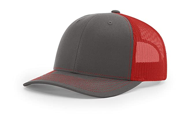 9baf166fa0def Image Unavailable. Image not available for. Color  Richardson Charcoal Red 112  Mesh Back Trucker Cap Snapback ...