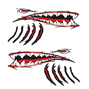 MonkeyJack 2 Pieces Large Vinyl Shark Teeth Mouth Eyes Gill Sticker Decals Kayak Boat Fishing Dinghy Motorcycle Car Bumper Graphics Accessories
