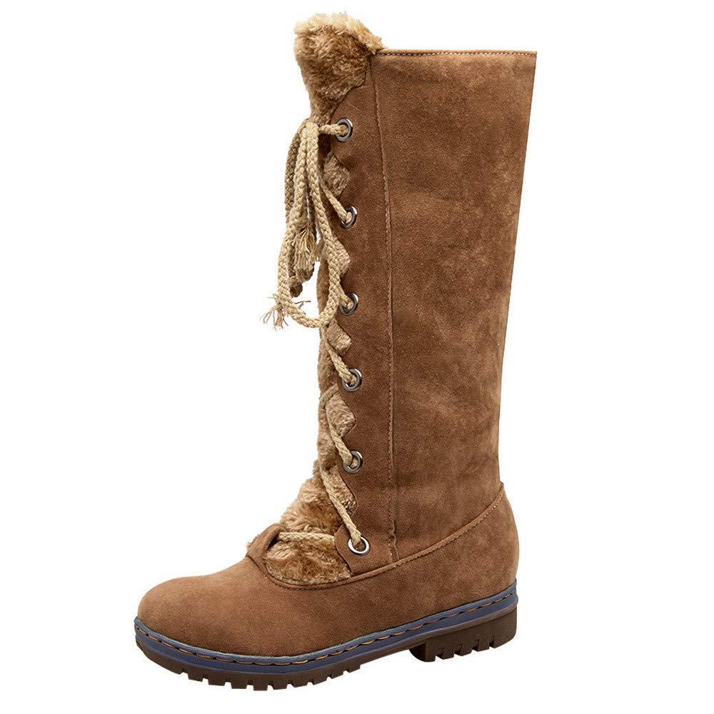 JiaMeng Mujer Invierno Boots Calentar Zapatos Planos de Cordones con Cordones de Ante Redondos Mantener cálidas Botas de Nieve de Tubo Medio Botas de Nieve ...