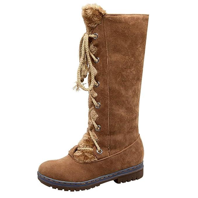 SamMoSon Botas Mujer Invierno Altas Negras Tacon Marrones,Zapatos Planos De Gamuza con Cordones Y