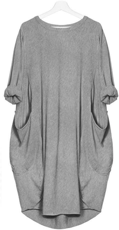 LUCKYCAT Vestido Suelto de Bolsillo para Mujer de Cuello Redondo ...