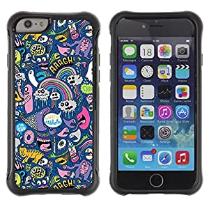 Hybrid Anti-Shock Defend Case for Apple iPhone 6 4.7 Inch / Cool Psychedelic Graffiti Pattern
