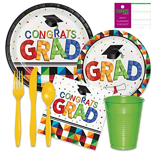 2018 Graduation Party Supplies - Paper Plates, Napkins, Plastic Cups, Forks, Knives, Spoons