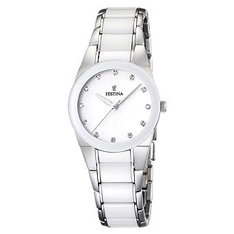 Festina F16534/3 - Reloj analógico de Pulsera para Mujer (Mecanismo de Cuarzo, Esfera Blanca y Correa de Acero Inoxidable: Festina: Amazon.es: Relojes