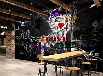 3d Mural Black And White Graffiti Horror Wall In Living Room European And American Style Halloween Theme Background Wall Wallpaper Mural Wall Wallpaper W 400cmx H 280cm Amazon Co Uk Diy Tools