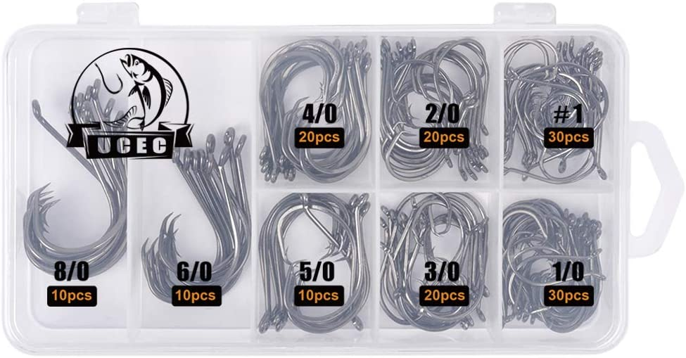 UCEC 150pcs/box Circle Hooks 2X Strong Customized Offset Sport Circle Hooks Black High Carbon Steel Octopus Fishing Hooks - Size:#1 1/0 2/0 3/0 4/0 5/0 6/0 8/0