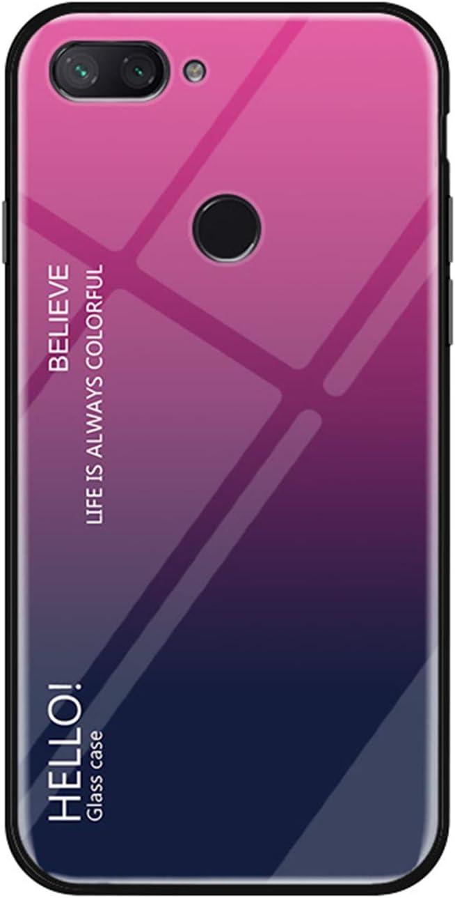 Funda Xiaomi Mi8 Lite,Carcasa TPU Soft Silicone Marco Vidrio Templado Back Cubierta Anti-Scratch Shockproof Protectora Cover Funda para Xiaomi Mi8 Lite,Rosa