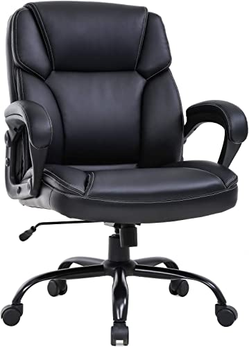 Big and Tall Office Chair 400lbs Wide Seat Ergonomic Desk Chair PU Leather Computer Chair