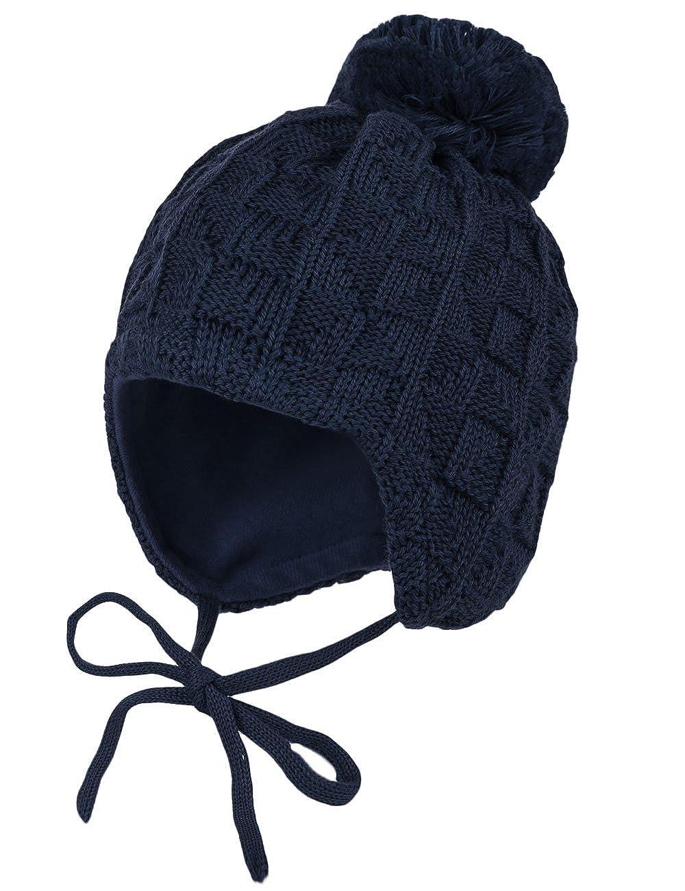 maximo Unisex Baby Mütze, Pompon, Bindeband, Einfarbig maximo Jungen Mütze Blau (Dunkelmarine 11) 53 65575-238200