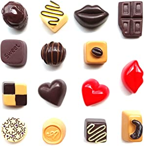 Toosunny 15 Pack Fridge Magnets Chocolate Refrigerator Office Magnets for Calendars Whiteboards Maps Resin Fun Decorative Decoration