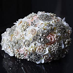 10ceafc7fc2 Clear Fayer Teardrop Wedding Bouquet Rose 2019 Bridal Flower Bouquet  Handmade Crystal Bruidsboeket Waterval Bouquet 2