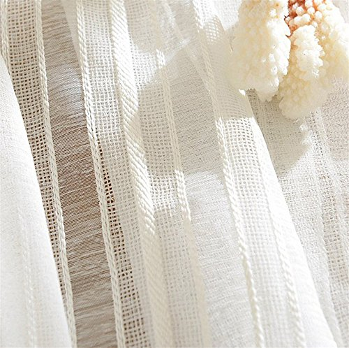 White Stripe Linen Curtain Sheer Curtain Panels for Living Room Rod Pocket top 52 x 96 Inch 1 panel