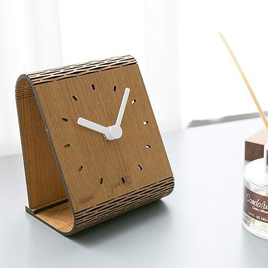 WOOLIY Relojes de Escritorio de Madera operado por batería Reloj ...