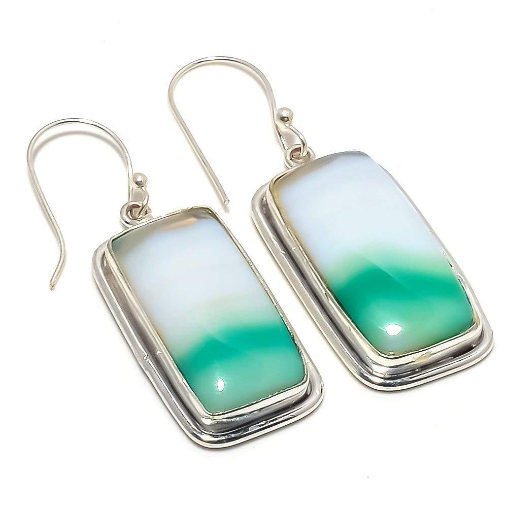 Blue Botswana Agate Silver Plated 12 Grams Earring 2 Long Delicate Handmade Jewellry
