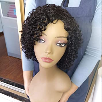 Amazon.com   Morichy Hair Human Hair Wigs for Women 100% Unprocessed  Brazilian Virgin Remy Hair Short Curly Wig None Lace Front Wig Natural  Black Color Afro ... 754d3caa6