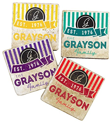 Colorful Grayson Family Name & Year Stripe Design - Personalized Tumbled Travertine Coasters - Set of 4