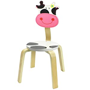 iPlay, iLearn 10 Inch Kids Solid Hard Wood Animal Chair, Stackable Wooden Finished, Preschool, Daycare, Bedroom, Playroom, Nursery Seat, Cow Furniture Stool for Toddlers, Children, Boys, Girls