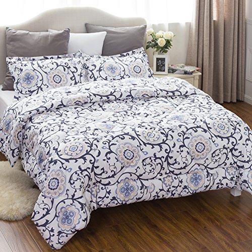 Bedsure King Comforter Set Classics Traditional European Roll Grass Design Down Alternative Comforter 3 Piece (1 Comforter + 2 Pillow Shams)(102