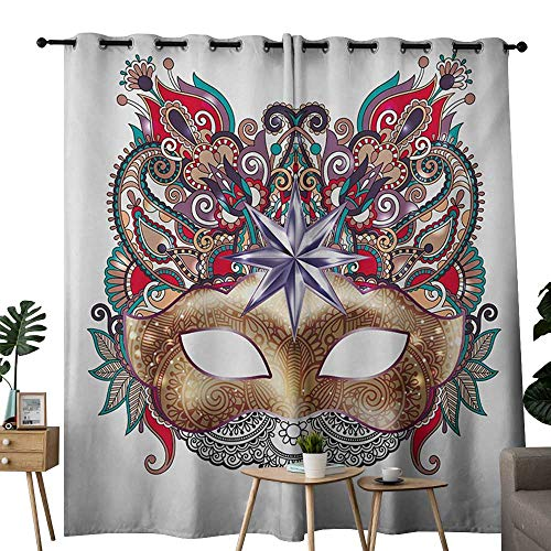 NUOMANAN Blackout Curtains for Bedroom Mardi Gras,Venetian Carnival Mask Silhouette with Ornamental Elements Masquerade Costume,Multicolor,Darkening Grommet Window Curtain-Set of 2 52