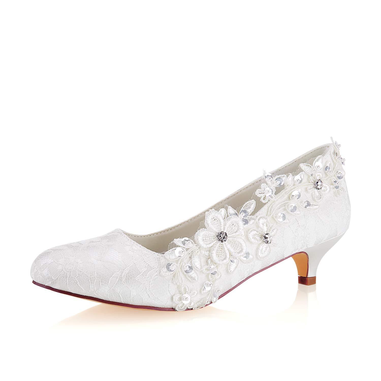 Emily Bridal Chaussures de m/ère de Dentelle Chaussures de Mariage Bout Rond Chaussures de mari/ée Ivoire
