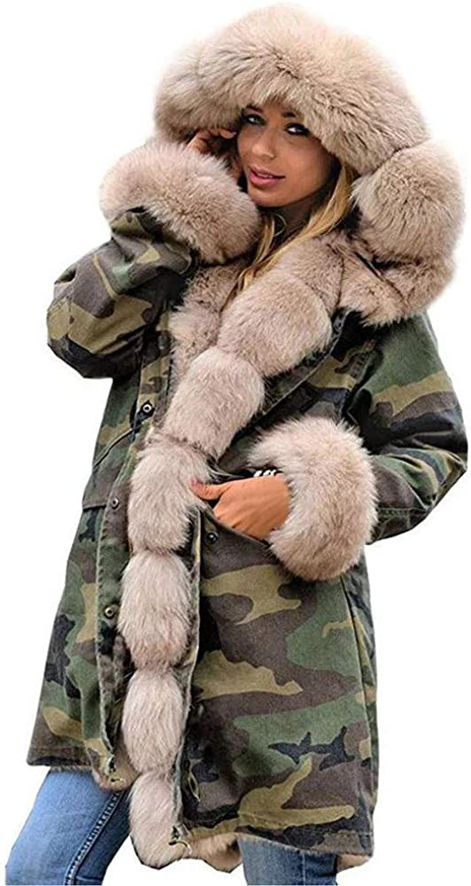 Kangma Womens Faux Fur Winter Jacket Parka Hooded Coat Fishtail Long Sleeves Overcoat