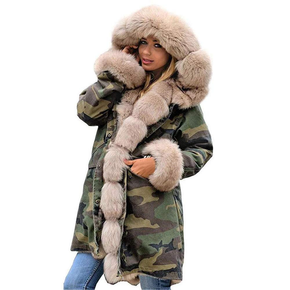 KFSO Women Camouflage Faux Fur Thicken Warm Winter Coat Hood Parka Overcoat Long Jacket Outwear (Beige, 2XL)