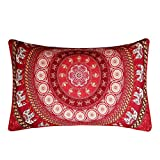 Sleepwish Red Mandala Pillowcase Indian Elephant Messenger Pillow Case Boho Decorative Throw Pillows (1 Case) (20 x 36 Inches)