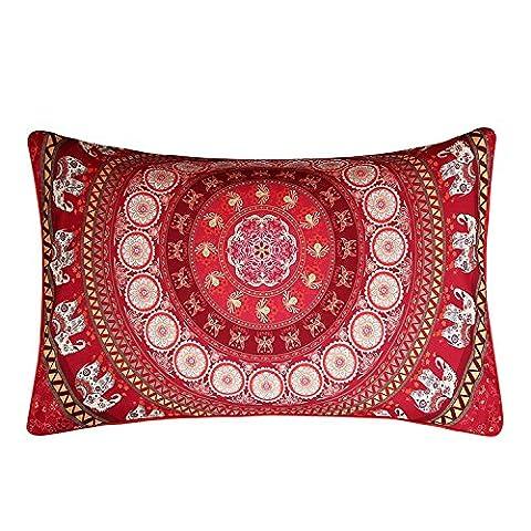 Sleepwish Red Mandala Pillowcase Indian Elephant Messenger Pillow Case Boho Decorative Throw Pillows (20 X 30 Inches)