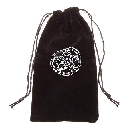 Cuigu Bolsa de Tarjeta de Tarot de Terciopelo Pentagrama Negro Bolsa de Almacenamiento de Paquete de cordón Mini para Juguete de Maquillaje de Bijoux