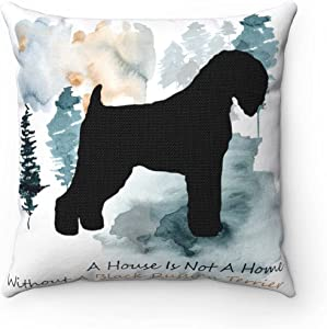 Black Russian Terrier Throw Pillow Cover Pet Pillow Cover When I Need A Hand I Found You Paw Pet Dog Lover Cushion Cover Blue and Pink Ink Pillow Cover for Home Decor Gift for Her Dog Memorial